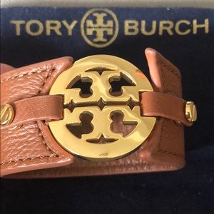 Tory Burch | Leather Logo Bracelet Cuff